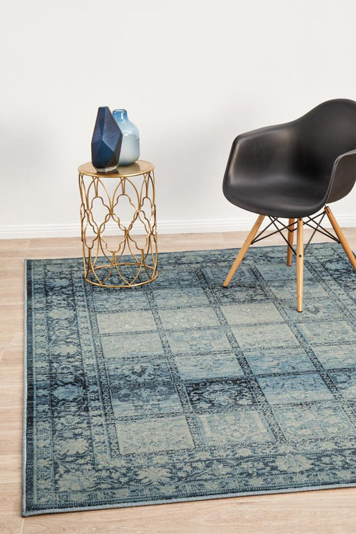 Giza Blue Aztec Grid Pattern Contemporary Rug, Rugs, Ozark Home