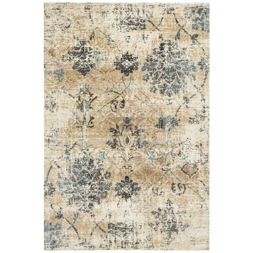 Giza Bone Distressed Floral Medallion Contemporary Rug, Rugs, Ozark Home