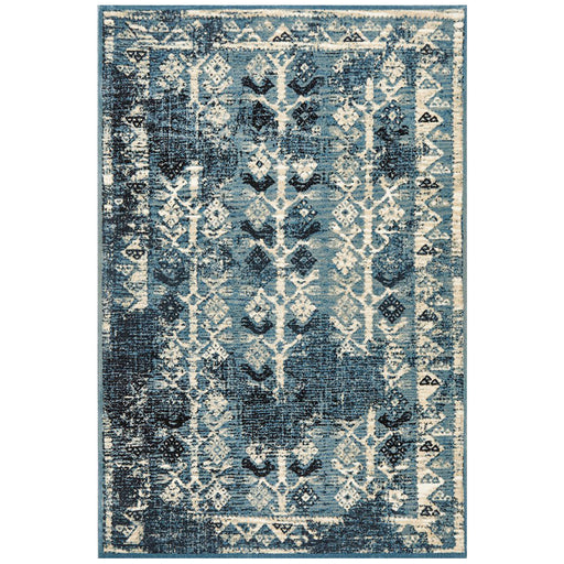 Giza Blue Aztec Pattern Contemporary Rug, Rugs, Ozark Home