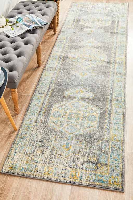 Cesme Grey Faded Medallion Contemporary Runner Rug, Rugs, Ozark Home