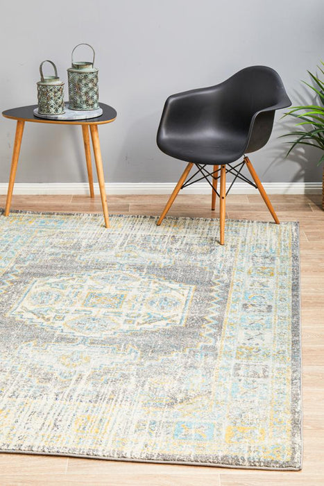 Cesme Grey Faded Medallion Contemporary Rug, Rugs, Ozark Home