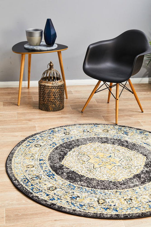 Cesme Charcoal Round Faded Medallion Contemporary Rug, Rugs, Ozark Home