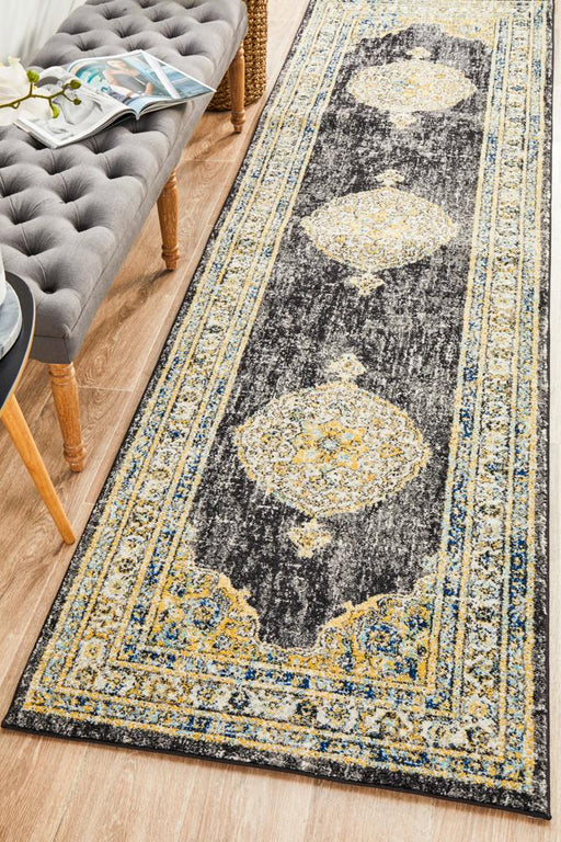 Cesme Charcoal Faded Medallion Contemporary Runner Rug, Rugs, Ozark Home