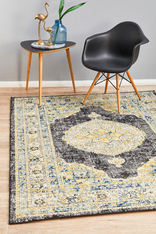 Cesme Charcoal Faded Medallion Contemporary Rug, Rugs, Ozark Home