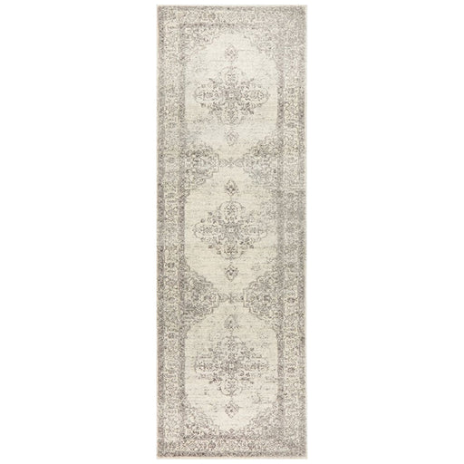 Cesme Silver Floral Motif Contemporary Runner Rug, Rugs, Ozark Home