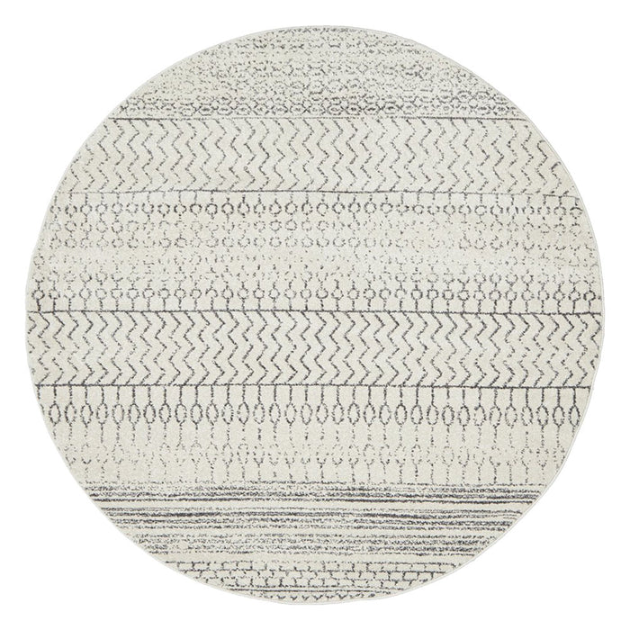 Cayeli Silver Round Tribal Monochromatic Contemporary Rug, Rugs, Ozark Home