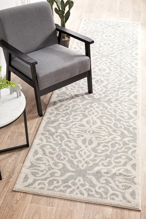 Ahlat Silver Floral Diamond Pattern Contemporary Runner Rug, Rugs, Ozark Home