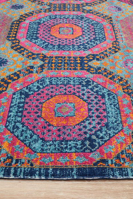 Erdek Multicoloured Stonewashed Circle Grid Vintage Rug, Rugs, Ozark Home