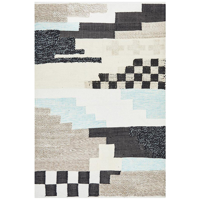 Ekma Multicoloured Cross Textured Wool Rug, Rugs, Ozark Home