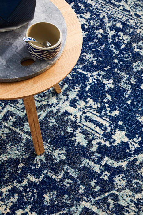 Ellora Navy Faded Transitional Medallion Contemporary Rug, Rugs, Ozark Home