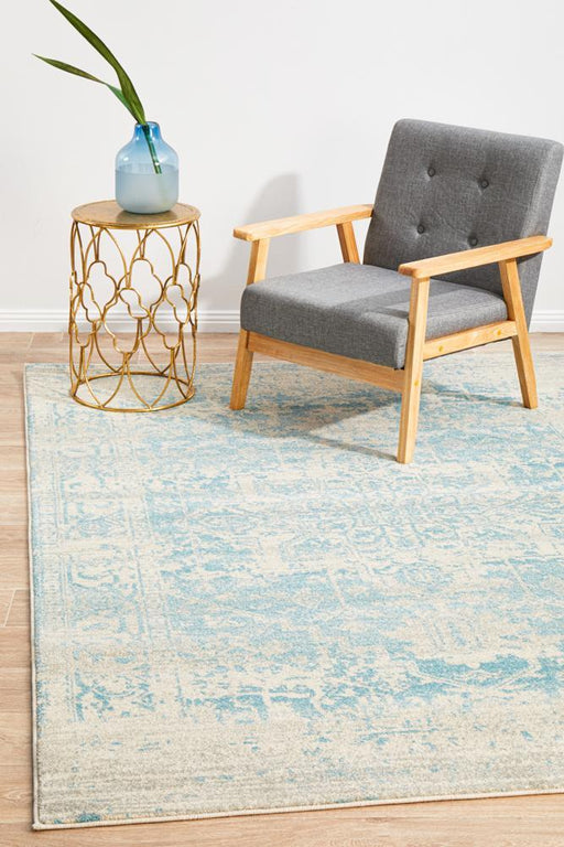 Ellora White & Blue Faded Transitional Medallion Contemporary Rug, Rugs, Ozark Home