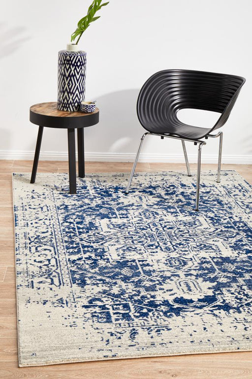 Ellora White & Navy Faded Transitional Medallion Contemporary Rug, Rugs, Ozark Home