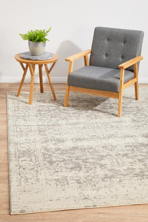 Ellora White & Silver Faded Transitional Contemporary Rug, Rugs, Ozark Home