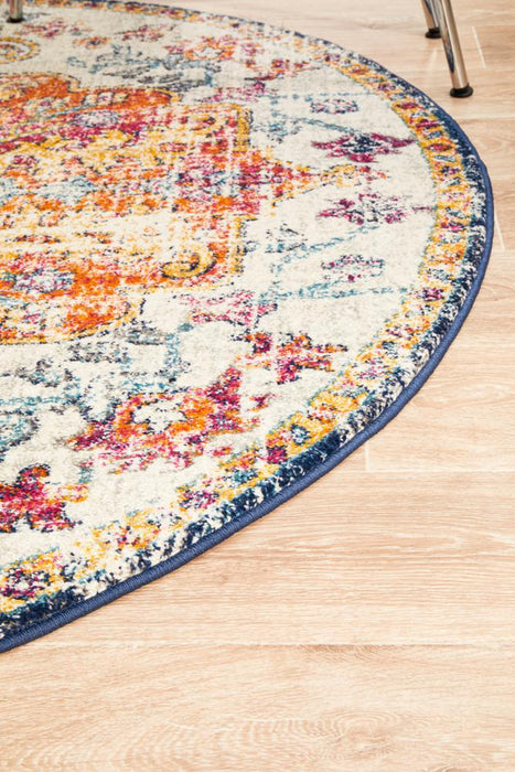 Ellora White & Multicoloured Round Faded Transitional Medallion Contemporary Rug, Rugs, Ozark Home