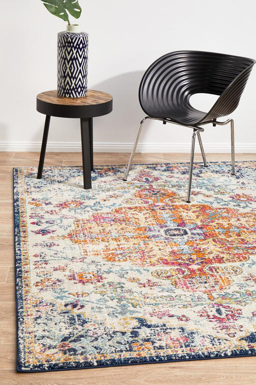 Ellora White & Multicoloured Faded Transitional Medallion Contemporary Rug, Rugs, Ozark Home