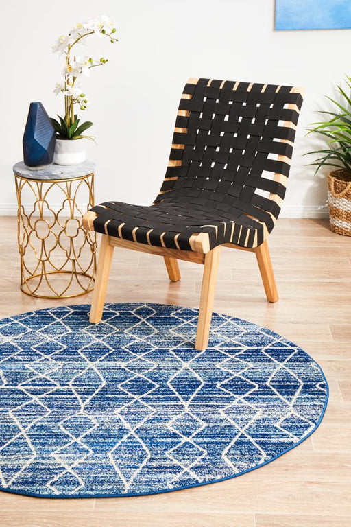 Ellora Blue Round Faded Transitional Aztec Contemporary Rug, Rugs, Ozark Home