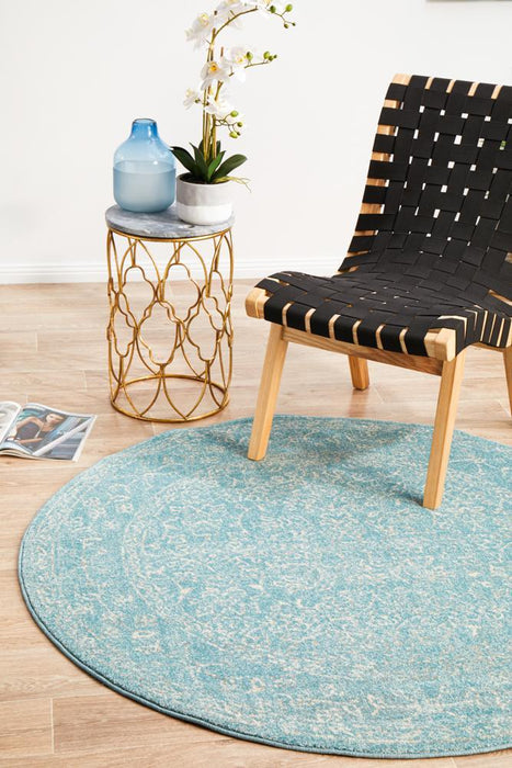 Ellora Blue Round Faded Transitional Floral Grid Contemporary Rug, Rugs, Ozark Home
