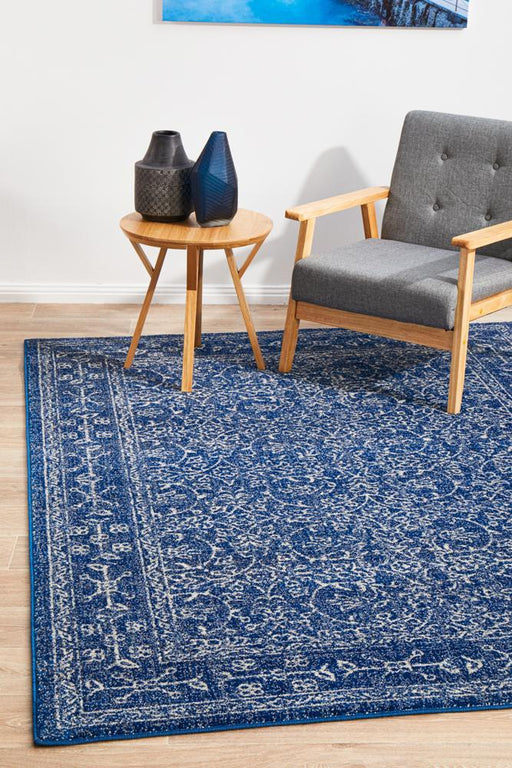 Ellora Navy Faded Transitional Floral Grid Contemporary Rug, Rugs, Ozark Home