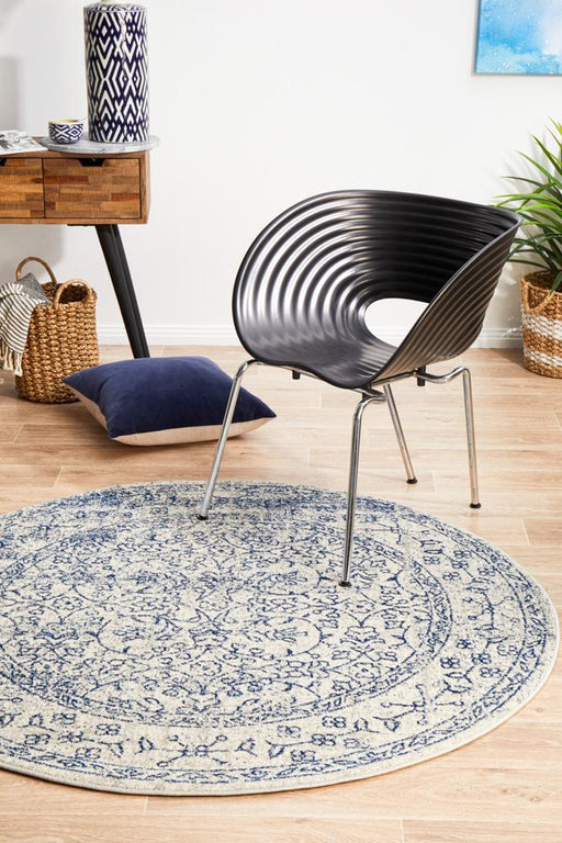 Ellora White & Blue Round Faded Transitional Floral Grid Contemporary Rug, Rugs, Ozark Home