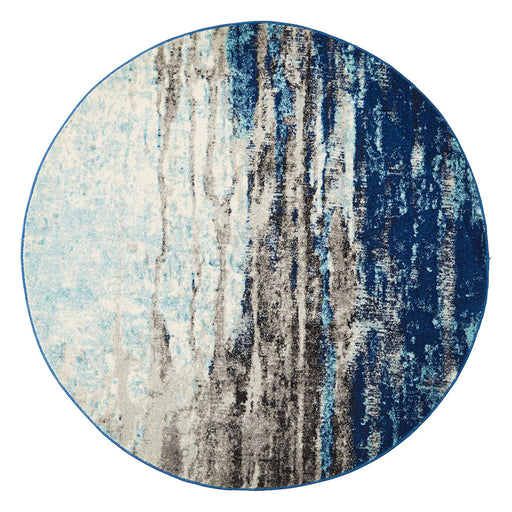 Ellora Blue Round Abstract Seascape Contemporary Rug, Rugs, Ozark Home