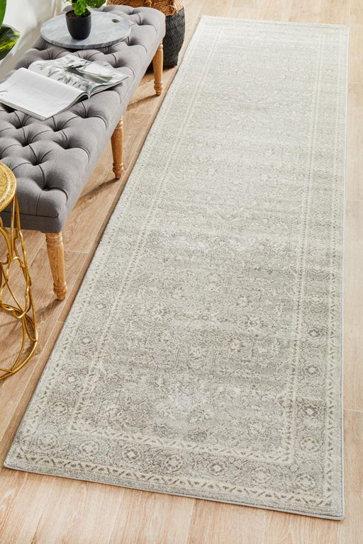 Ellora Silver Faded Transitional Floral Medallion Contemporary Runner Rug, Rugs, Ozark Home