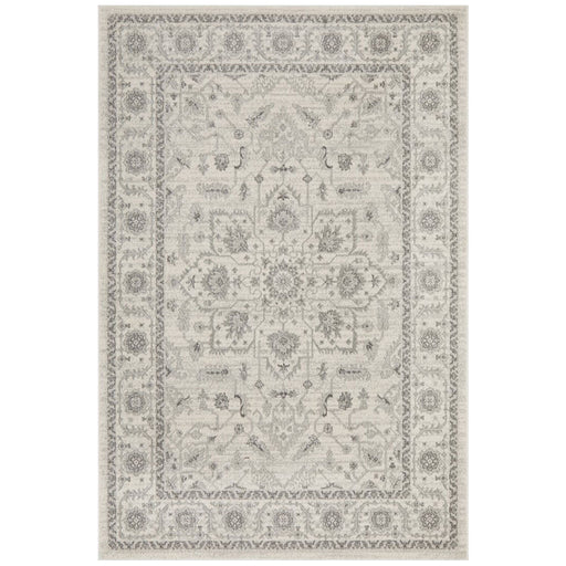 Ellora White & Silver Faded Transitional Medallion Contemporary Rug, Rugs, Ozark Home