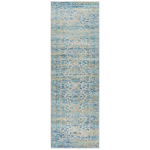 Ellora Silver Faded Floral Medallion Contemporary Runner Rug, Rugs, Ozark Home