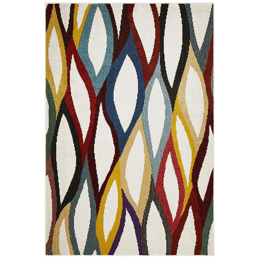 Gocek White & Multicoloured Abstract Detail Contemporary Rug, Rugs, Ozark Home