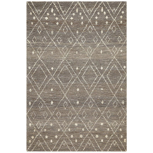 Korba Grey & White Diamond Pattern Handwoven Jute Rug, Rugs, Ozark Home