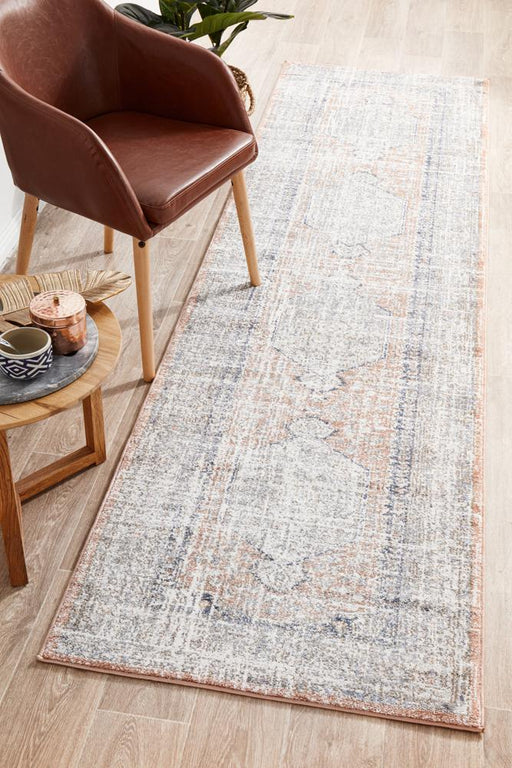 Zardab Peach Transitional Grid Contemporary Runner Rug, Rugs, Ozark Home