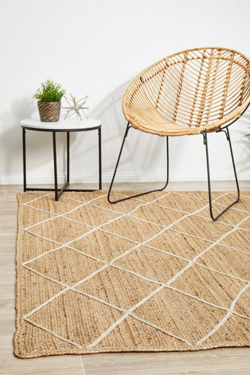 Nadora Natural & White Chevron Handbraided Jute Rug, Rugs, Ozark Home