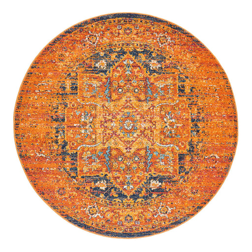 Reyhanli Vivid Rust Round Transitional Medallion Contemporary Rug, Rugs, Ozark Home