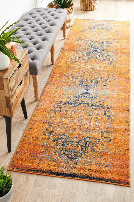 Reyhanli Vivid Rust Transitional Medallion Contemporary Runner Rug, Rugs, Ozark Home
