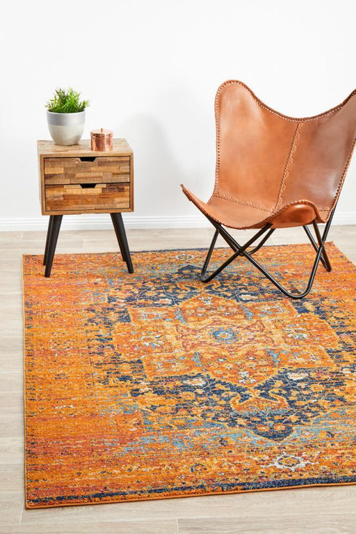 Reyhanli Vivid Rust Transitional Medallion Contemporary Rug, Rugs, Ozark Home
