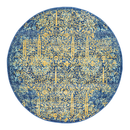 Reyhanli Royal Blue Round Transitional Yellow Medallion Contemporary Rug, Rugs, Ozark Home