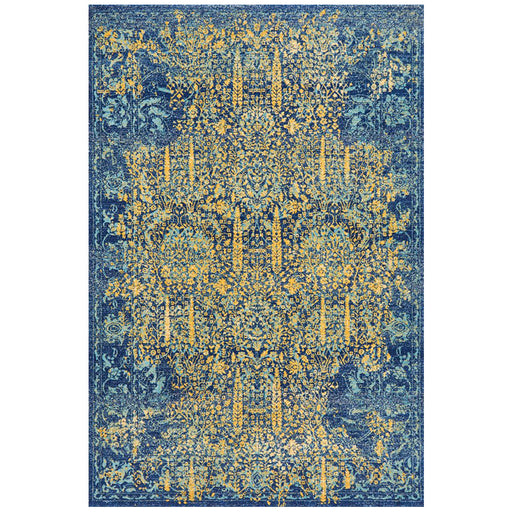 Reyhanli Royal Blue Transitional Yellow Medallion Contemporary Rug, Rugs, Ozark Home