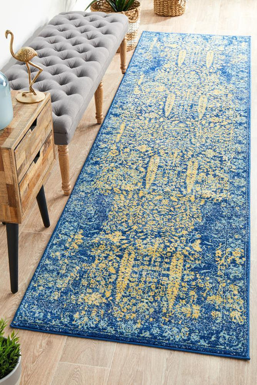 Reyhanli Royal Blue Transitional Yellow Medallion Contemporary Runner Rug, Rugs, Ozark Home