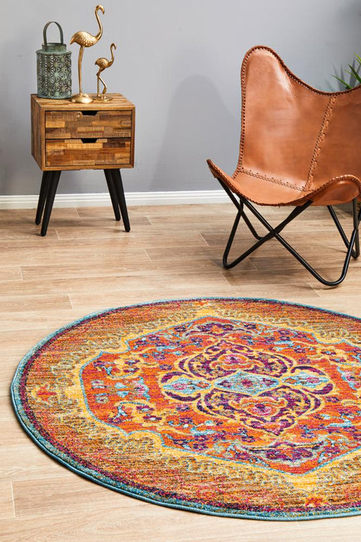 Reyhanli Tangerine Round Transitional Ornate Medallion Contemporary Rug, Rugs, Ozark Home