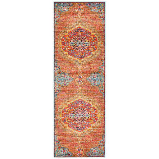 Reyhanli Tangerine Transitional Ornate Medallion Contemporary Runner Rug, Rugs, Ozark Home