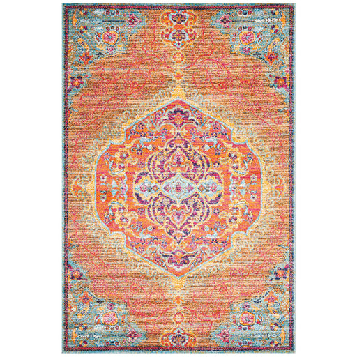 Reyhanli Tangerine Transitional Ornate Medallion Contemporary Rug, Rugs, Ozark Home