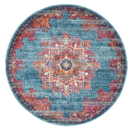 Reyhanli Marine Round Transitional Floral Mandala Contemporary Rug, Rugs, Ozark Home