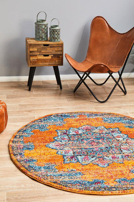 Reyhanli Vivid Rust Round Transitional Floral Mandala Contemporary Rug, Rugs, Ozark Home