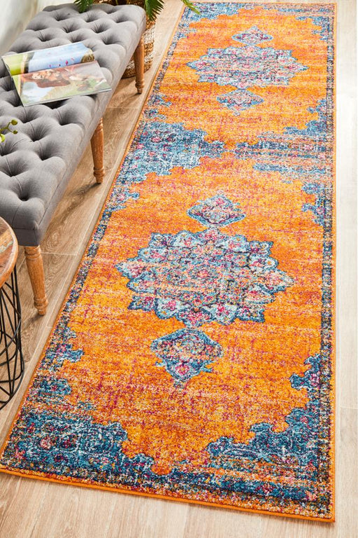 Reyhanli Vivid Rust Transitional Floral Mandala Contemporary Runner Rug, Rugs, Ozark Home