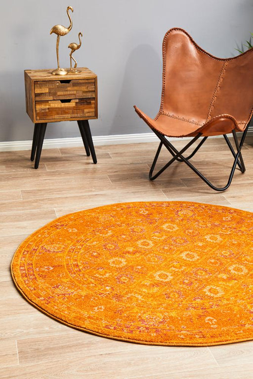 Reyhanli Burnt Orange Round Transitional Muted Floral Contemporary Rug, Rugs, Ozark Home