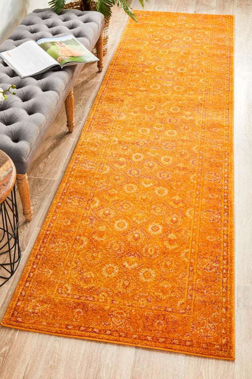 Reyhanli Burnt Orange Transitional Muted Floral Contemporary Runner Rug, Rugs, Ozark Home