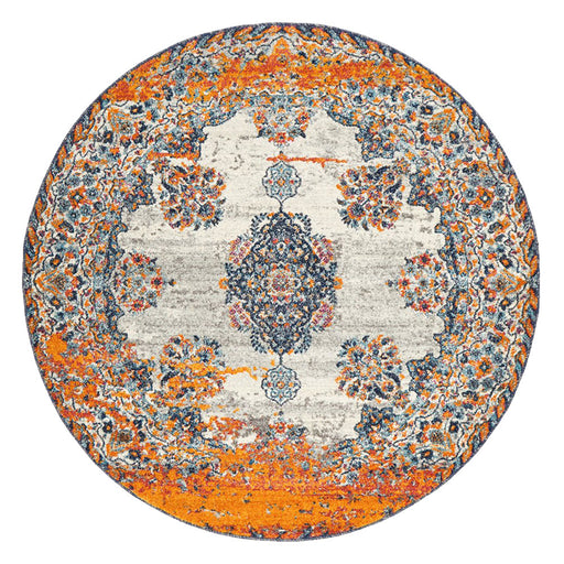 Reyhanli Bone Round Transitional Diamond Medallion Contemporary Rug, Rugs, Ozark Home