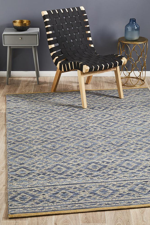 Raipur Blue & Natural Bohemian Diamond Handwoven Wool Rug, Rugs, Ozark Home