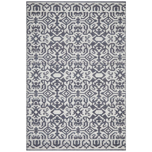 Raipur Silver & Navy Bohemian Lattice Pattern Handwoven Wool Rug, Rugs, Ozark Home