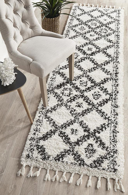 Serik White & Grey Moroccan Diamond Patchwork Plush Contemporary Runner Rug, Rugs, Ozark Home