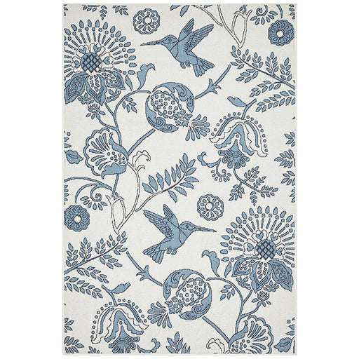 Sidfa White & Blue Summer Garden Contemporary Indoor/Outdoor Rug, Rugs, Ozark Home